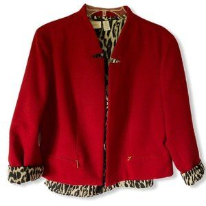 Chicos Womens Layered Jacket Coat Red Brown